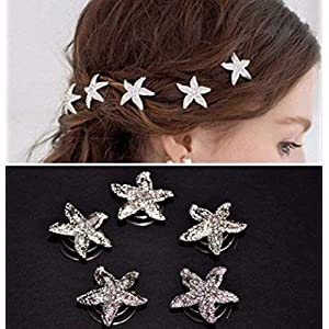 5 Curlies Haarspiralen Haarschmuck Silvester Braut Silber Seestern Strass