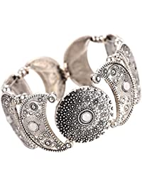 Young & Forever Tribal Muse Silver Plated Cuff Bracelet For Women / Girls B848