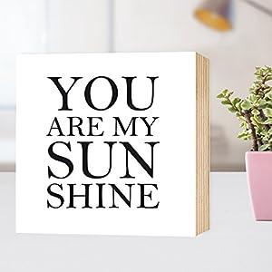 You are my Sunshine ★ Freundschaft Liebe Kompliment - einzigartiges Holzbild 15x15x2cm zum Hinstellen und Aufhängen...