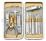 Keiby Citom Tagliaunghie Set Professionale - Grooming Kit Strumenti per Manicure e Pedicure 12 pcs con Bella Box (Vino Rosso)
