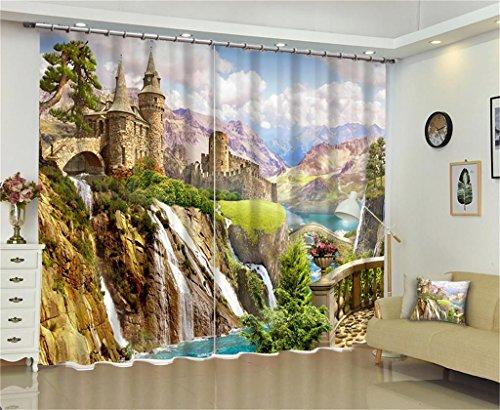 XFKL Vorhänge 2 Panels Room Verdunkelung Blackout Vorhänge, Hochgebirgswasser - Präzision Schwarz Seide Digitaldruck Tuch, Wohnzimmer Schlafzimmer Fenster Vorhänge , 80*84 inch Tülle Vorhänge Faux Seide