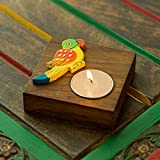 ExclusiveLane Hand-Painted Parrot Home Decorative Tea Light Holder Cum Decorative Candle Holder In Sheesham Wood -Tealight Candle Holders Diyas And Lanterns Diwali Decoration