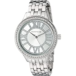 Rampage Women's 'Crystal Dial Band' Quartz Metal and Alloy Automatic Watch, Color:Silver-Toned (Model: RP1108SL)