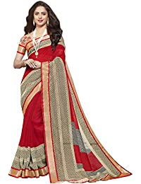 Ishin Jute Silk Red Printed With Lace Party Wear Wedding Wear Casual Wear Festive Wear New Collection Latest Design...