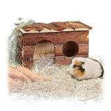 Relaxdays großes Nagerhaus, Kleintierhaus, naturbelassen, Ratten, Meerschweinchenhaus HBT 17x28x17,5 cm, aus Holz, braun