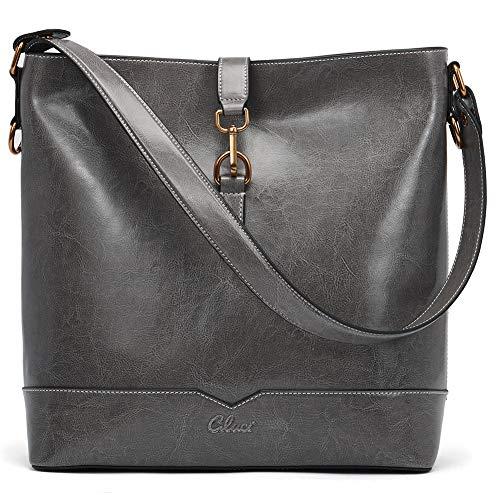 CLUCI Ölwachs Leder Handtasche Damen Designer Tote Umhängetasche Mode Schultertasche für Frauen grau -