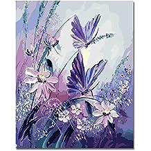 kotwdq DIY pintura al óleo pintura por números Kits con cepillos kits de pintura acrílica sobre lienzo para adultos niños principiantes–mariposa morada con diseño de flores 16x 20inch () sin marco d1005110