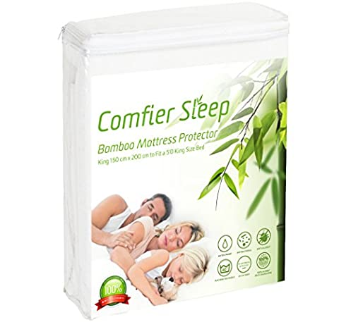 Waterproof Bamboo Mattress protector Breathable and non noisy Anti bacterial and fully fitted-King size