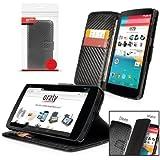 Orzly® - Multi-Function Wallet Case per LG NEXUS 5 ( COPERTINA con PORTAFOGLIO e SUPPORTO integrato ) - Custodia Protettivo con SONNO-SENSORI INTEGRATI e coperchio magnetico / Porafoglio NERO in effetto FIBRA DI CARBONIO per GOOGLE NEXUS 5 SmartPhone ( 2013 Modello )