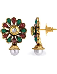 Spargz Multicolor Kemp Stone With Pearl South Indian Earrings Drop Earrings For Women AIER 1134