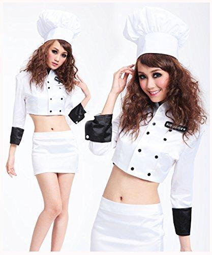 Nihiug Ghost Wunderschöne Sexy Hut Hot Chef Kleidung Uniform Versuchung Party Anzug Rolle Spielen White Corpse Miss Mode Mode Bühnen Make-up,White (Chef Frauen Uniform)