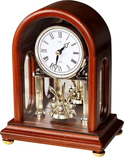 Klassische Tischuhr Kaminuhr mit Drehpendel Uhr Mahagoni