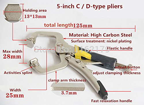 New 212,7cm (125mm) C D Typ Gripzange Vise Grip Zange Lock Wrech Elektrode Halterung Holz-Klemmen Clips versandkostenfrei (Vise-lock)