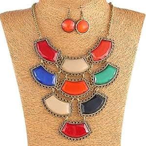 Vintage quattro strati irregolari variopinti Resiin orecchini & Necklace Jewelry Set