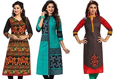 Jevi Prints Women's Dress Material (Pack of 3)(Saheli-1505-1512-1530_Multi-Coloured_Free Size)