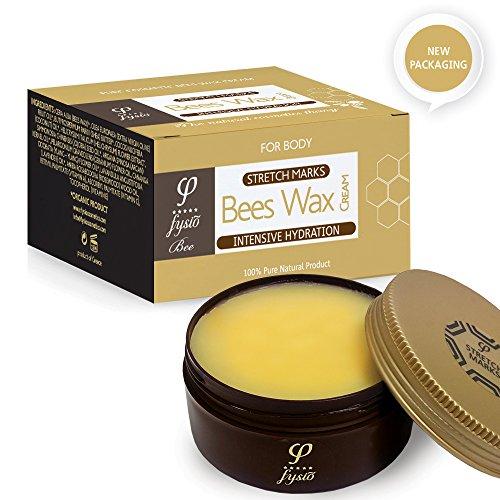 Fysio Naturkosmetik Bio Bienenwachscreme für Dehnungsstreifen | Narbencreme - Narbensalbe | Behandeln Sie Neue und Alte Narben | Stärkung und Wiederaufbau von Bindegewebe und Elastin | 200ml