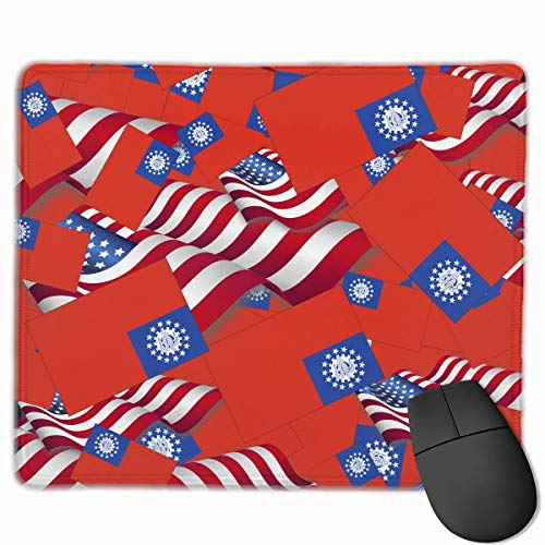 Myanmar Flag with America Flag Mouse Gaming Mouse Pad Non-Slip Smooth Desk Mat Washable Material 7.1 x 8.7 Inches(18x22CM)