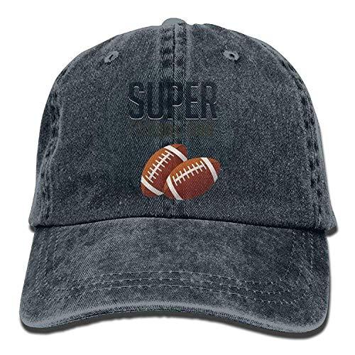 Ftball Game Denim Baseball Caps Hat Adjustable Cotton Sport Strap Cap for Men ()