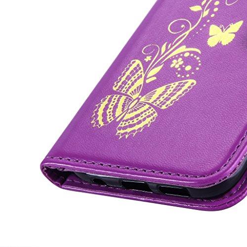 Fatcatparadise (TM) Custodia con design a flip per iPhone 5, 5S e SE, con protezione per schermo in vetro temperato, antigraffio, con retro morbido in silicone, stampa elegante di farfalla con fiori,  Purple