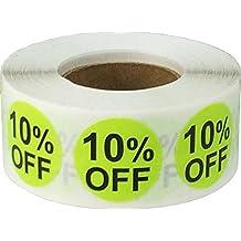 Brillante Verde 10% de Descuento Circulo Punto Pegatinas, 19 mm 3/4 Pulgada Redondo, 500 Etiquetas en un Rollo
