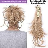 Messy Hair Extensions Pferdeschwanz, biegbar, mit 3 biegbaren Metallen, Kunsthaar, glatt, flauschig