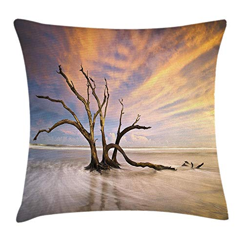 MLNHY Driftwood Throw Pillow Cushion Cover, Seascape Theme Dead Tree Driftwood in The Ocean at Sunset Landscape Print, Decorative Square Accent Pillow Case, 18 X 18 inches, Beige and Orange