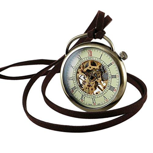 Herren mechanische Taschenuhr Geschenk Antik Bronze ohne Deckel Umhängeuhr