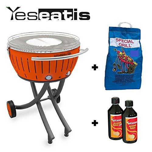 YesEatIs Lotusgrill XXL mit Raeder - Starter Kit BBQ mit 2Kg Carbobois Holzkohle und 500ml Feueranzuender Gel Satanino - Orange