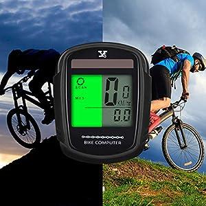 Cuentakilómetros para bicicleta KOROPADE inalámbrico impermeable con retroiluminación gran pantalla LCD de HD de pantalla auto despierta muti-funcion para bicicleta Velocímetro y bicicleta de montaña