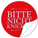 48 moderne Design Etiketten, rund/Bitte nicht knicken Design 2 ROT/Aufkleber/Sticker/Post/Versand/Brief/Vorsicht