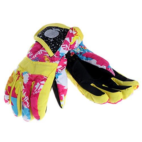 Haven Shop warme Kinderhandschuhe, Baby Winter, wasserdicht, warme Fäustlinge für Jungen und Mädchen, Kinder im Freien, Ski- und Reithandschuhe, Geschenk Large gelb