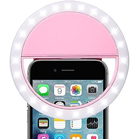 ARCHEER selfie anillo de luz LED recargable Retrato de disparo de luz de relleno con 3 niveles de brillo LED con clip para el iPhone 7/7 Plus / 6s Samsung Galaxy y todos los tel¨¦fonos inteligentes, Rosa