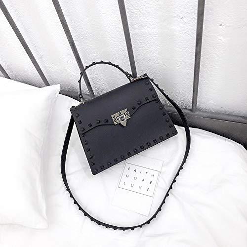 Mrs. Li's shop Neue Tasche weibliche koreanische Version matt matt Kelly Bag Niet Umhängetasche Umhängetasche, Large schwarz