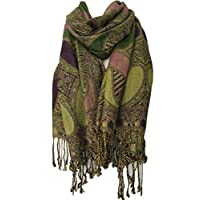 Purple Possum® Green Scarf Ladies Pashmina Wrap Oversized Scarf Aubergine Lime Floral Pattern Wedding Prom Shawl