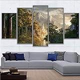 gwgdjk Dipinti su Tela Stampe Artistiche da Muro 5 Pezzi Castello nelle Montagne Immagini Poster Soggiorno-40X60/80/100Cm,Without Frame