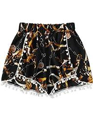 TIMEMEAN PantalonesMujer ImpresióN En CadenaPantalones Cortos Cintura Media Suelto Shorts Cintura EláStica Ringer