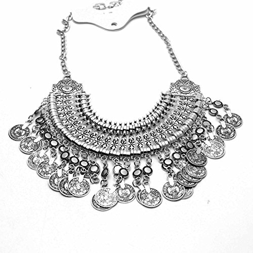 Preisvergleich Produktbild HuntGold Böhmisch Antalya Gypsy Fest Türkische Münze Kragen Halskette Silber
