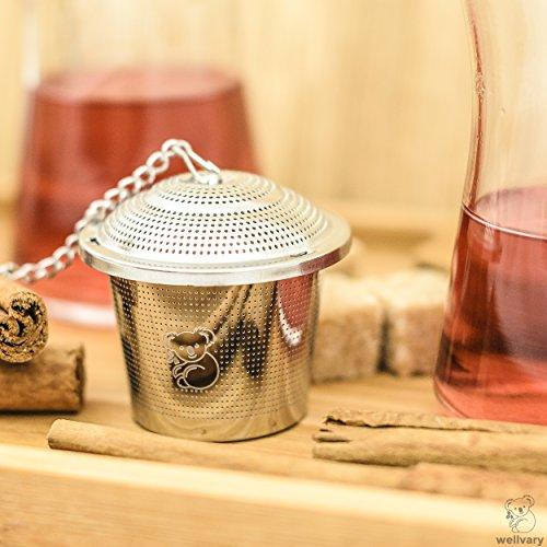 Premium Edelstahl Teeei | hochwertiges Teesieb & Teefilter | Teekugel für losen Tee | feinster Teegenuss im edlem Veloursbeutel (grau) von wellvary - 2er Set - 7