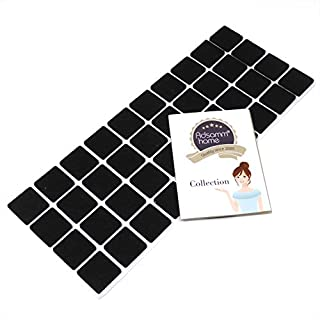 Adsamm® | 40 x self-Stick Felt Pads | 0.98'' x 0.98'' (25x25 mm) | Black | Square | self-Adhesive Furniture Glides with Felt Thickness of 0.138''/3.5 mm in top-Quality