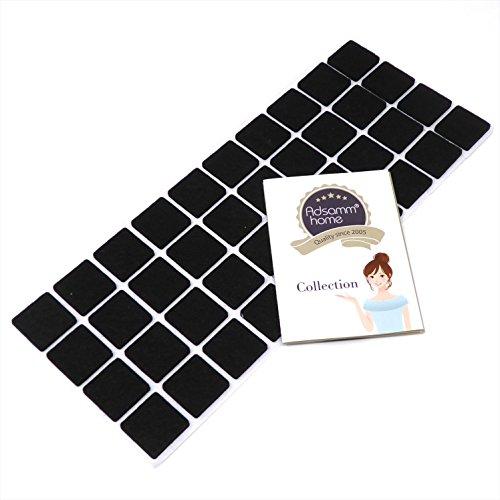 40 x Filzgleiter | 25x25 mm | Schwarz | quadratisch | selbstklebende Möbelgleiter in Top-Qualität von Adsamm®