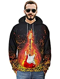 TDPYT Sudadera con Capucha Sudaderas con Capucha Hombre Mujer Impresión En 3D Rock Guitarra Mezcla Eléctrica