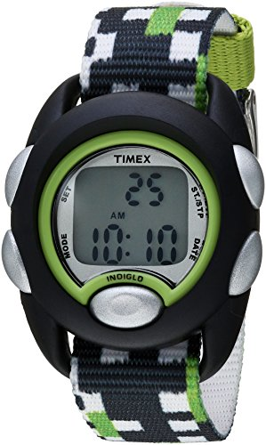 Timex Boys TW7C13000 Time Machines Digital Black/Green Fabric Strap Watch