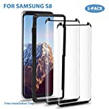 Samsung Galaxy S8 Screen Protector - Surwell [2 Pack] S8 Tampered Glass Screen Protector 3D Full Coverage Case Friendly with Installation Tray (Black)