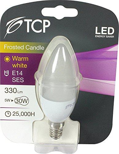 3PACK TCP 5W E14/SES LED beschichtet Opal/Matt Kerze Glühlampe LED Lichter, 330Lumen, 3000K warmweiß, 330° Abstrahlwinkel, ersetzt Old 30–40W Lampe Leuchtmittel