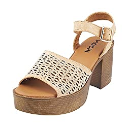 Mochi Women Camel Synthetic (Size Euro36/Uk3 )