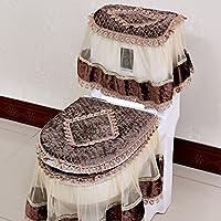 3Pcs Flannel Paisley Print Lace Decoration Water Tank Lid + Toilet Seat + Seat Toilet Seat brown