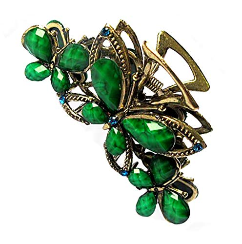 fodattm rutschfestem Griff Vintage Legierung Haar Kiefer Clip Fancy Haar Clamp Retro Schmetterling Strass und Kristall Perlen Haarspange Haarspange