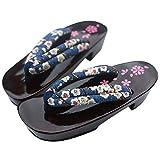 ZooBoo Damen Sandalen Pantoffel Sommerschuhe - Traditionelle Japanische Holzschuhe Geta Kimono Kirschblüte Sakura Musterdruck Rutschfest Poliert Flip-Flops Cosplay Clogs (38/40 EU, Blau Sakura)