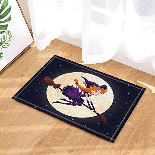 dliche Rothaarige-Hexe, die auf einem Besen an Mondbadeteppichen fliegt, rutschfeste Fußmatte-Boden-Eingangs-Eingangsinnen-Innenmatte, Kinderbadmatte, 40x60cm, Bad-Accessoires ()