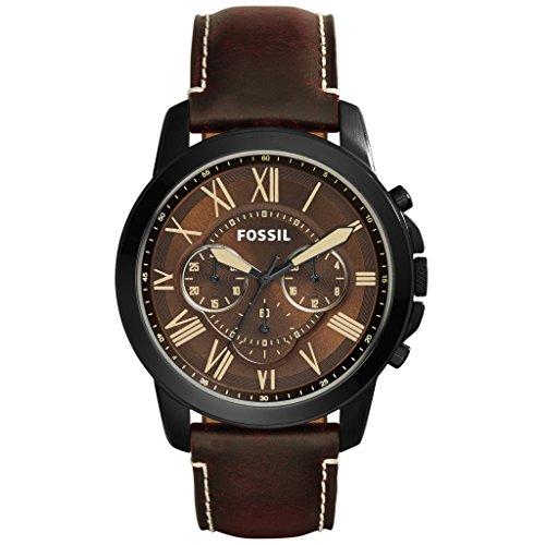 Fossil Herren Chronograph Quarz Uhr mit Leder Armband FS5088